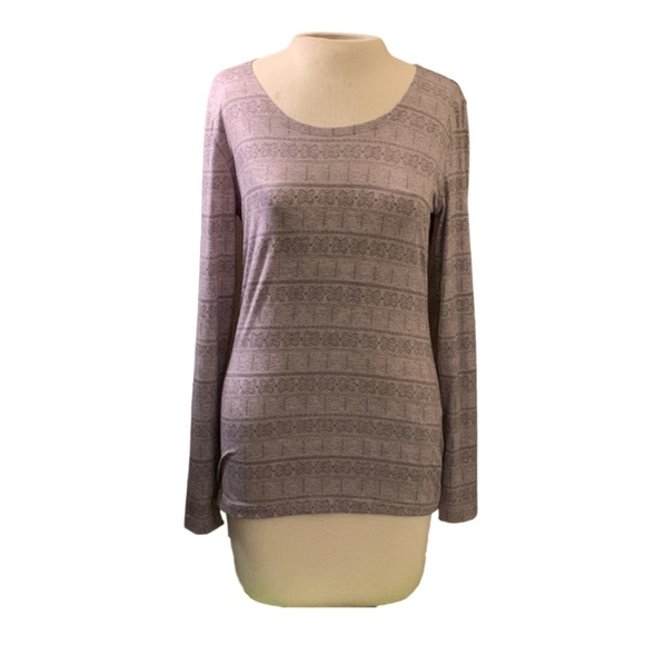32 Degrees Tops - Long Sleeve T-Shirt, Grey, Patterned, 32 Degrees